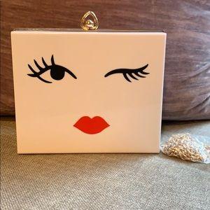 White Acrylic Box Winking Eye Clutch